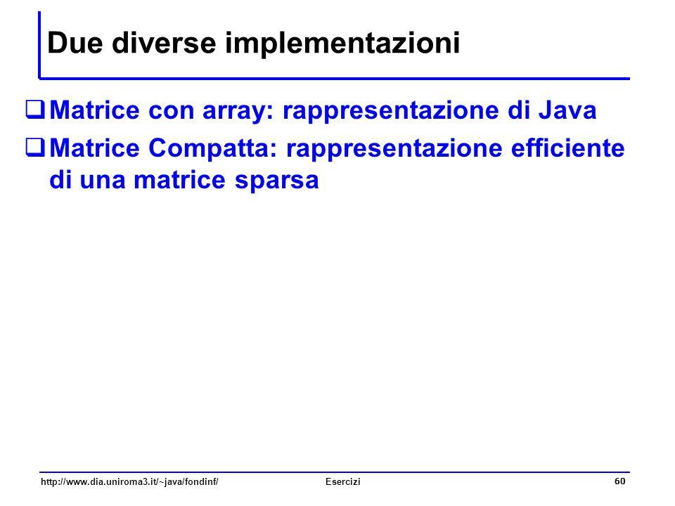 60 http://www.dia.uniroma3.it/~java/fondinf/Esercizi Due diverse implementazioni  Matrice con array: rappresentazione di Java  Matrice Compatta: rap