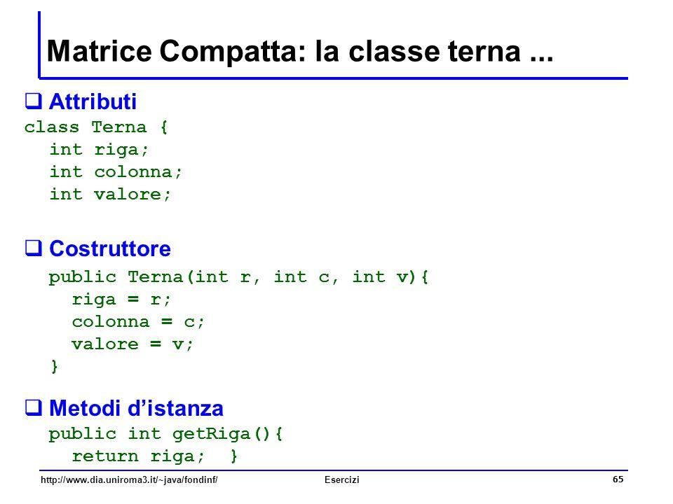 65 http://www.dia.uniroma3.it/~java/fondinf/Esercizi Matrice Compatta: la classe terna...  Attributi class Terna { int riga; int colonna; int valore;