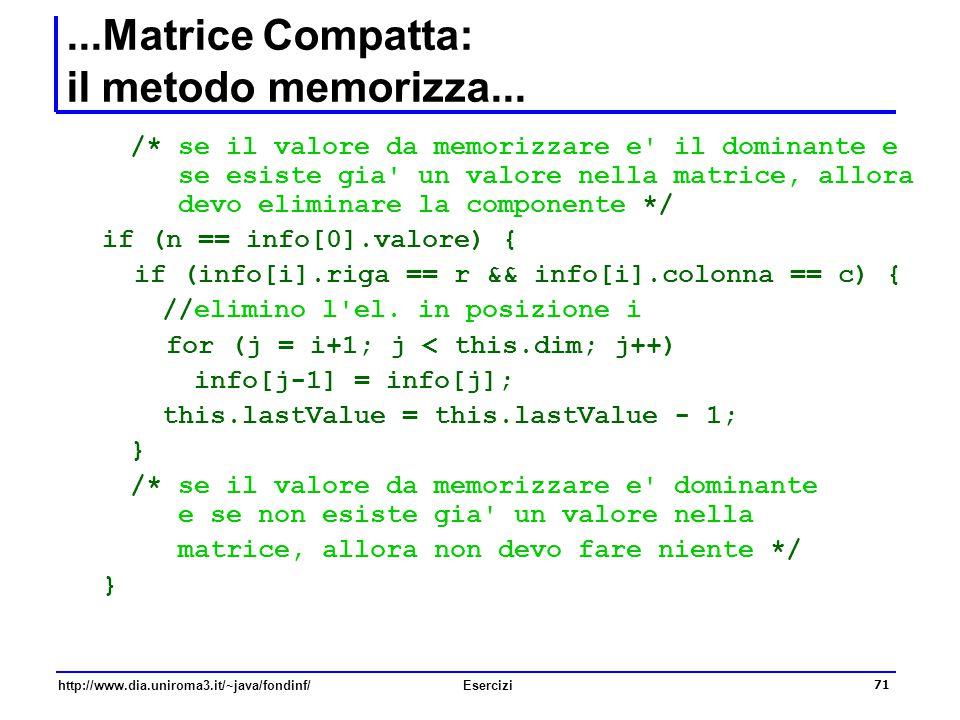 71 http://www.dia.uniroma3.it/~java/fondinf/Esercizi...Matrice Compatta: il metodo memorizza... /* se il valore da memorizzare e' il dominante e se es
