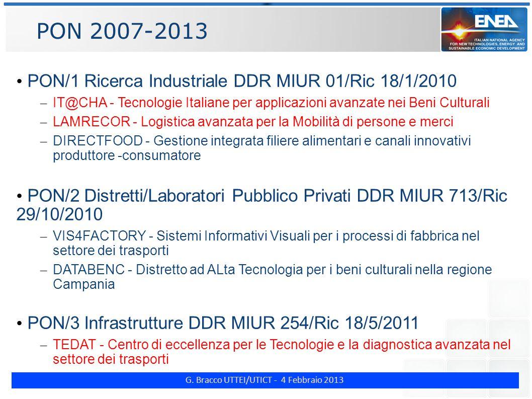 G. Bracco UTTEI/UTICT - 4 Febbraio 2013 PON 2007-2013 PON/1 Ricerca Industriale DDR MIUR 01/Ric 18/1/2010 – IT@CHA - Tecnologie Italiane per applicazi