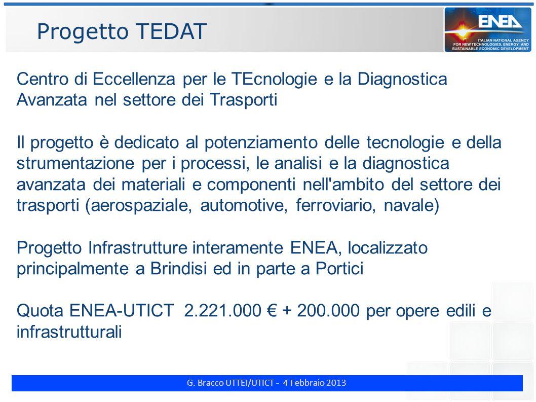 G. Bracco UTTEI/UTICT - 4 Febbraio 2013 Progetto TEDAT Centro di Eccellenza per le TEcnologie e la Diagnostica Avanzata nel settore dei Trasporti Il p