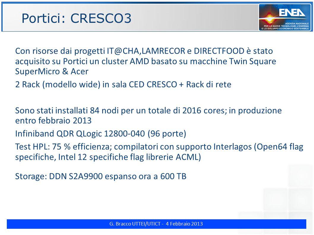 G. Bracco UTTEI/UTICT - 4 Febbraio 2013 ENE Portici: CRESCO3 Con risorse dai progetti IT@CHA,LAMRECOR e DIRECTFOOD è stato acquisito su Portici un clu