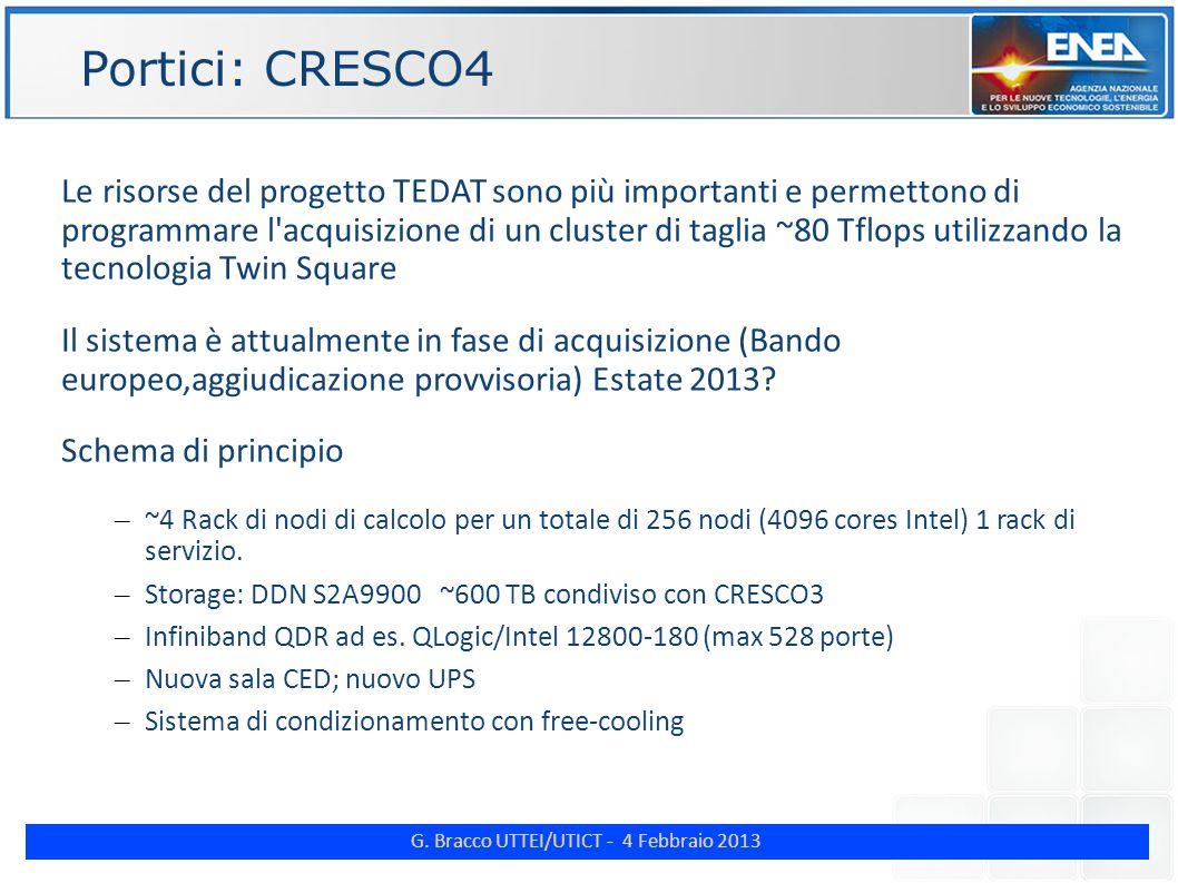 G. Bracco UTTEI/UTICT - 4 Febbraio 2013 ENE Portici: CRESCO4 Le risorse del progetto TEDAT sono più importanti e permettono di programmare l'acquisizi