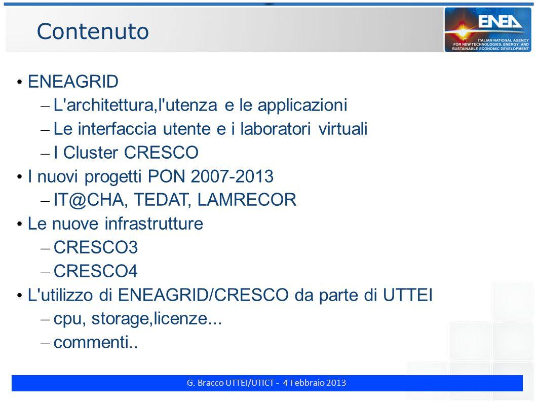 G. Bracco UTTEI/UTICT - 4 Febbraio 2013 Contenuto ENEAGRID – L'architettura,l'utenza e le applicazioni – Le interfaccia utente e i laboratori virtuali