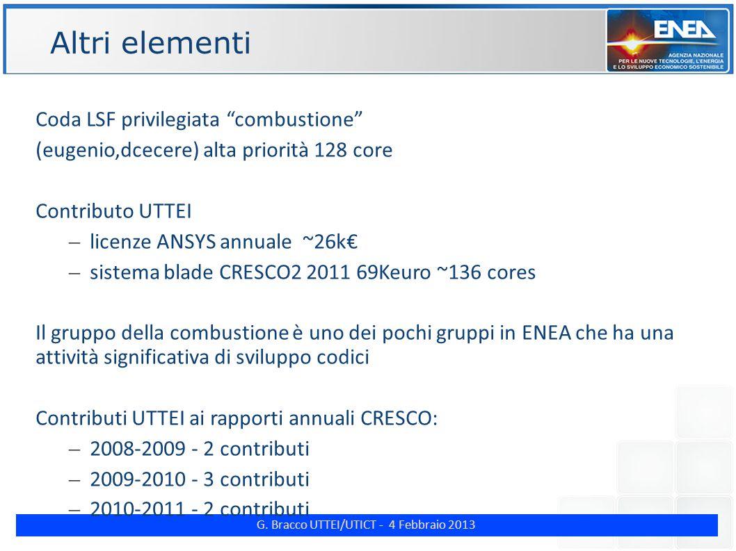 """G. Bracco UTTEI/UTICT - 4 Febbraio 2013 ENE Altri elementi Coda LSF privilegiata """"combustione"""" (eugenio,dcecere) alta priorità 128 core Contributo UTT"""