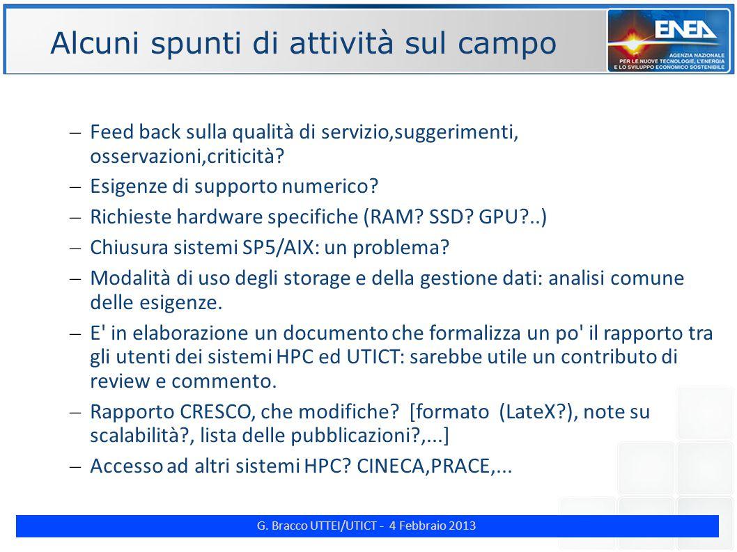 G. Bracco UTTEI/UTICT - 4 Febbraio 2013 ENE Alcuni spunti di attività sul campo – Feed back sulla qualità di servizio,suggerimenti, osservazioni,criti