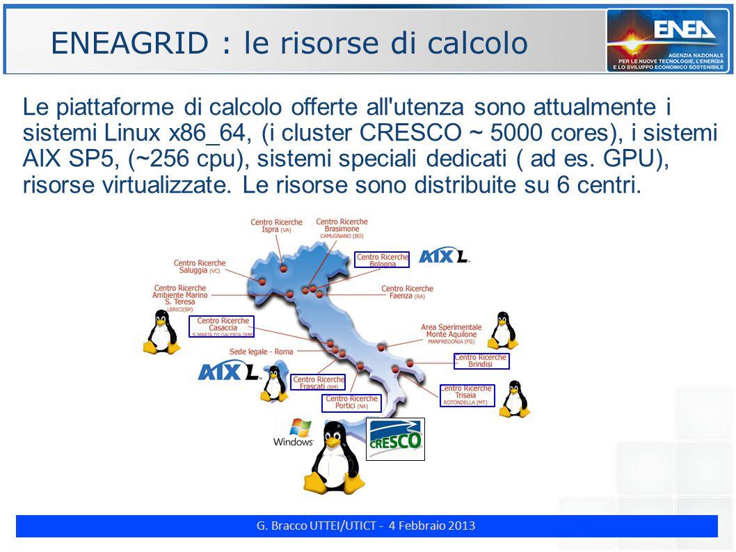 G. Bracco UTTEI/UTICT - 4 Febbraio 2013 ENE Le piattaforme di calcolo offerte all'utenza sono attualmente i sistemi Linux x86_64, (i cluster CRESCO ~