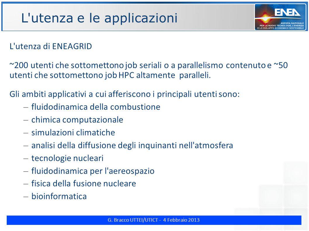 G. Bracco UTTEI/UTICT - 4 Febbraio 2013 ENE L'utenza di ENEAGRID ~200 utenti che sottomettono job seriali o a parallelismo contenuto e ~50 utenti che