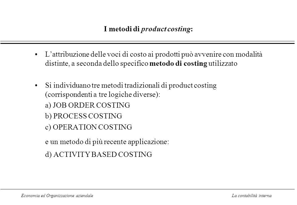 Economia ed Organizzazione aziendaleLa contabilità interna I metodi di product costing: L'attribuzione delle voci di costo ai prodotti può avvenire con modalità distinte, a seconda dello specifico metodo di costing utilizzato Si individuano tre metodi tradizionali di product costing (corrispondenti a tre logiche diverse): a) JOB ORDER COSTING b) PROCESS COSTING c) OPERATION COSTING e un metodo di più recente applicazione: d) ACTIVITY BASED COSTING