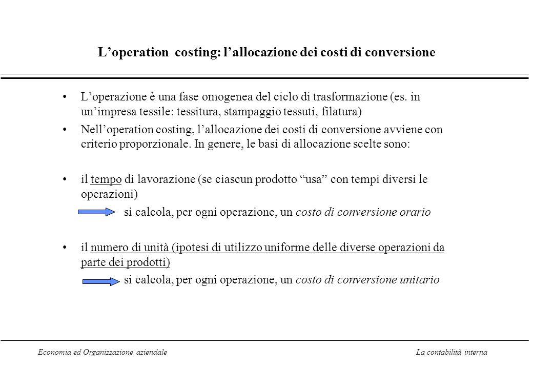 Economia ed Organizzazione aziendaleLa contabilità interna L'operation costing: l'allocazione dei costi di conversione L'operazione è una fase omogenea del ciclo di trasformazione (es.