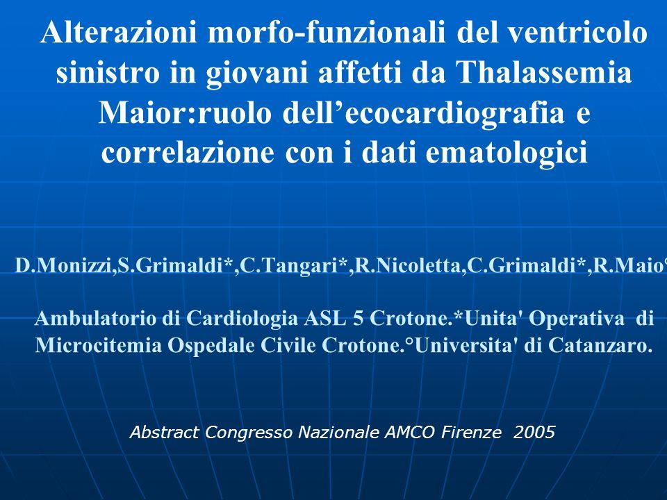Alterazioni morfo-funzionali del ventricolo sinistro in giovani affetti da Thalassemia Maior:ruolo dell'ecocardiografia e correlazione con i dati emat