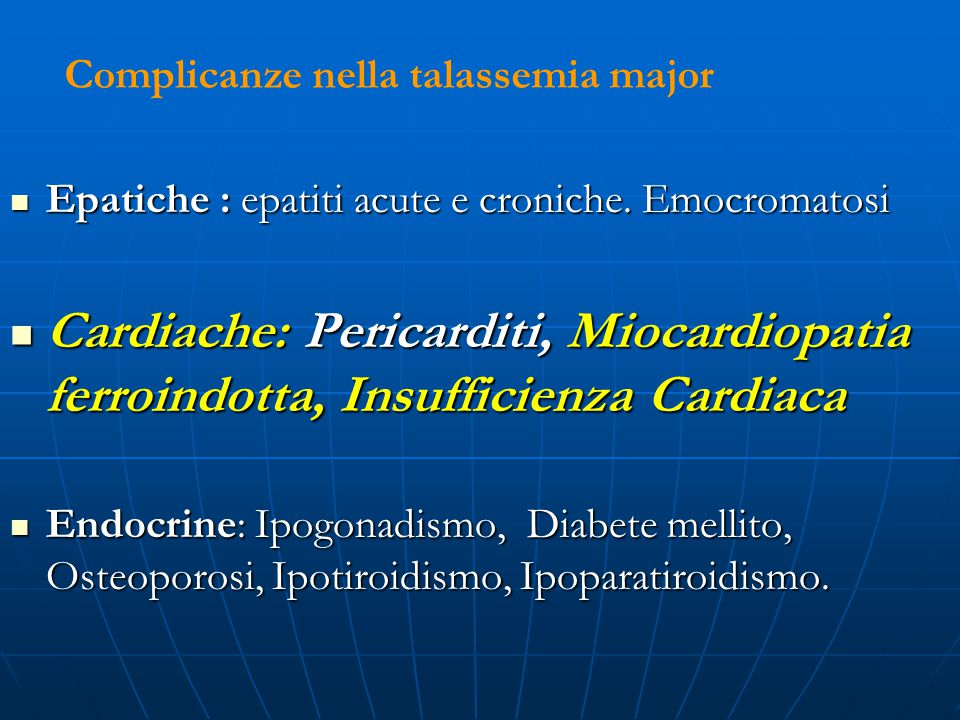 Alterazioni morfo-funzionali del ventricolo sinistro in giovani affetti da Thalassemia Maior:ruolo dell'ecocardiografia e correlazione con i dati ematologici D.Monizzi,S.Grimaldi*,C.Tangari*,R.Nicoletta,C.Grimaldi*,R.Maio° Ambulatorio di Cardiologia ASL 5 Crotone.*Unita Operativa di Microcitemia Ospedale Civile Crotone.°Universita di Catanzaro.