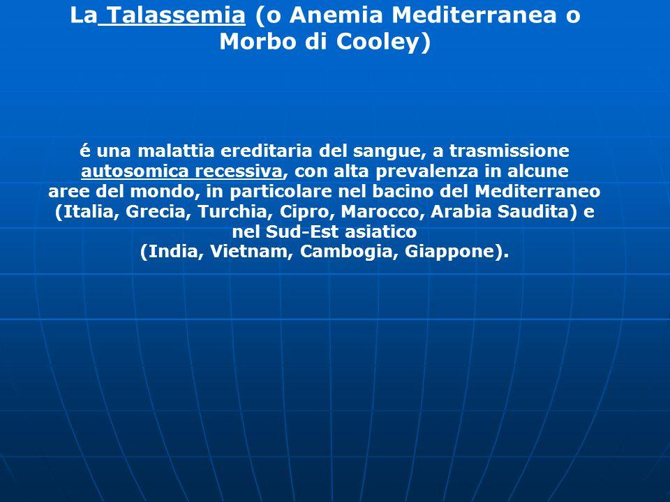 La Talassemia (o Anemia Mediterranea o Morbo di Cooley) é una malattia ereditaria del sangue, a trasmissione autosomica recessiva, con alta prevalenza in alcune aree del mondo, in particolare nel bacino del Mediterraneo (Italia, Grecia, Turchia, Cipro, Marocco, Arabia Saudita) e nel Sud-Est asiatico (India, Vietnam, Cambogia, Giappone).