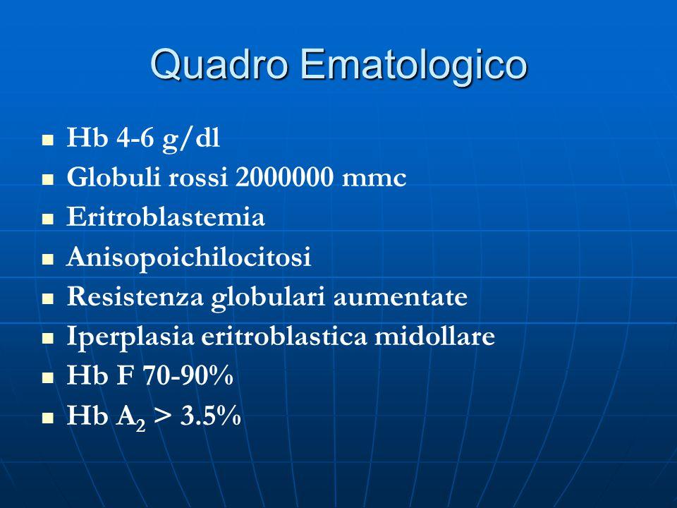 Quadro Ematologico Hb 4-6 g/dl Globuli rossi 2000000 mmc Eritroblastemia Anisopoichilocitosi Resistenza globulari aumentate Iperplasia eritroblastica midollare Hb F 70-90% Hb A 2 > 3.5%