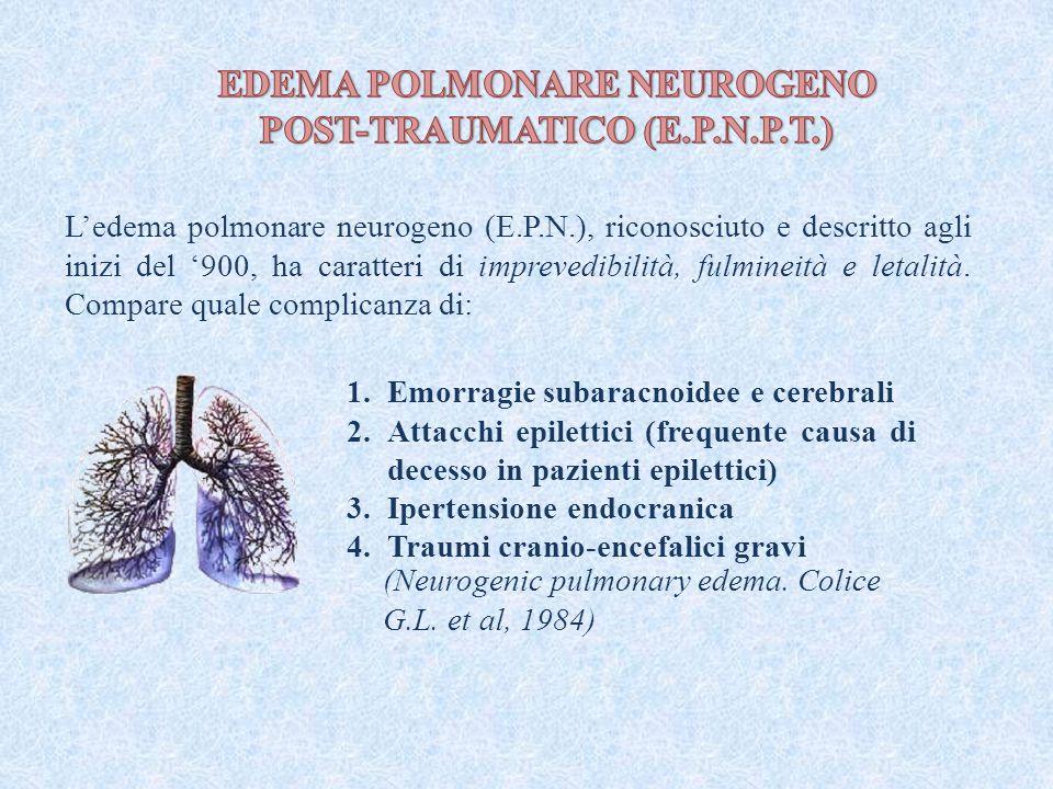 (Neurogenic pulmonary edema. Colice G.L. et al, 1984) L'edema polmonare neurogeno (E.P.N.), riconosciuto e descritto agli inizi del '900, ha caratteri