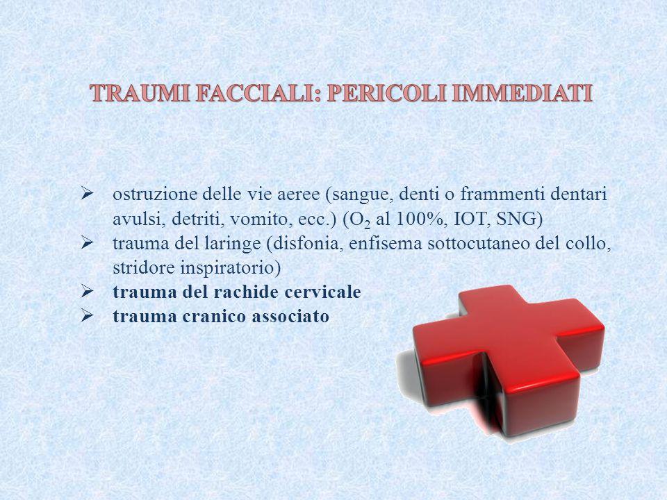  ostruzione delle vie aeree (sangue, denti o frammenti dentari avulsi, detriti, vomito, ecc.) (O 2 al 100%, IOT, SNG)  trauma del laringe (disfonia,