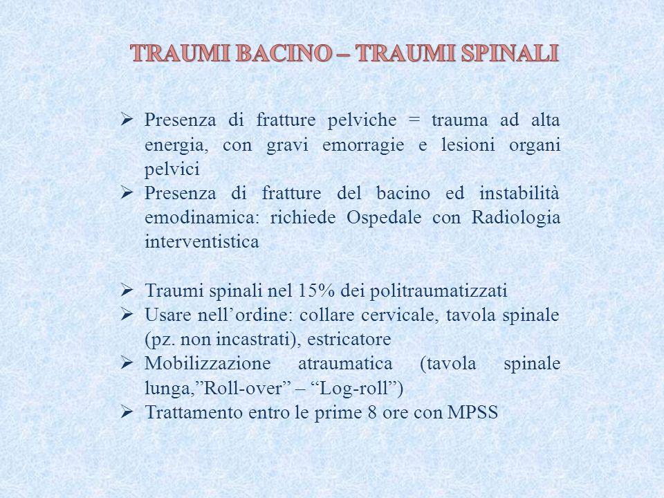 Presenza di fratture pelviche = trauma ad alta energia, con gravi emorragie e lesioni organi pelvici  Presenza di fratture del bacino ed instabilit