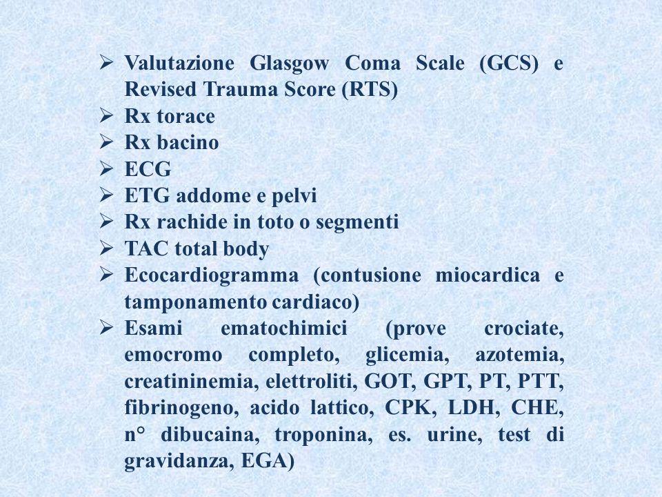  Valutazione Glasgow Coma Scale (GCS) e Revised Trauma Score (RTS)  Rx torace  Rx bacino  ECG  ETG addome e pelvi  Rx rachide in toto o segmenti