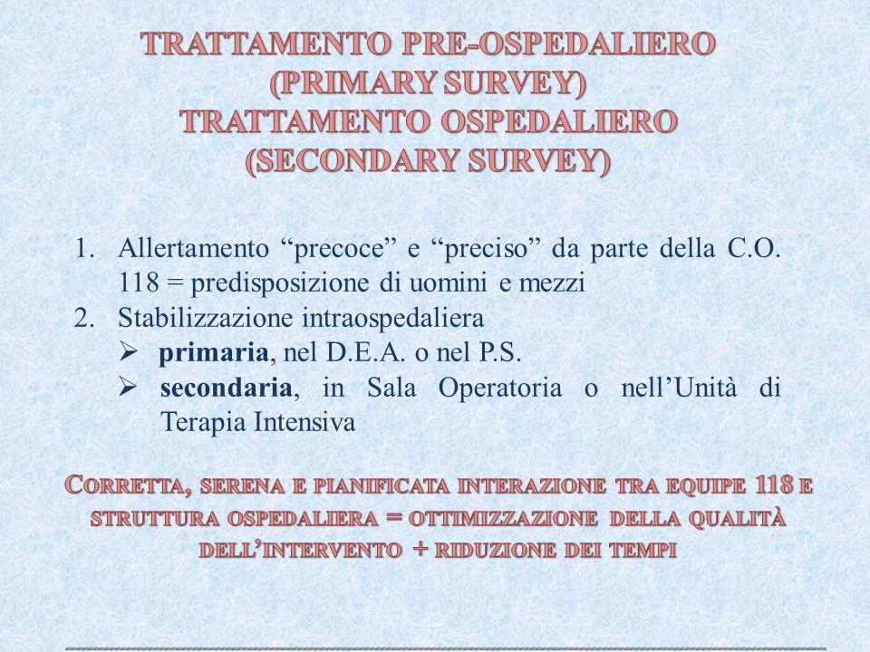 """1.Allertamento """"precoce"""" e """"preciso"""" da parte della C.O. 118 = predisposizione di uomini e mezzi 2.Stabilizzazione intraospedaliera  primaria, nel D."""