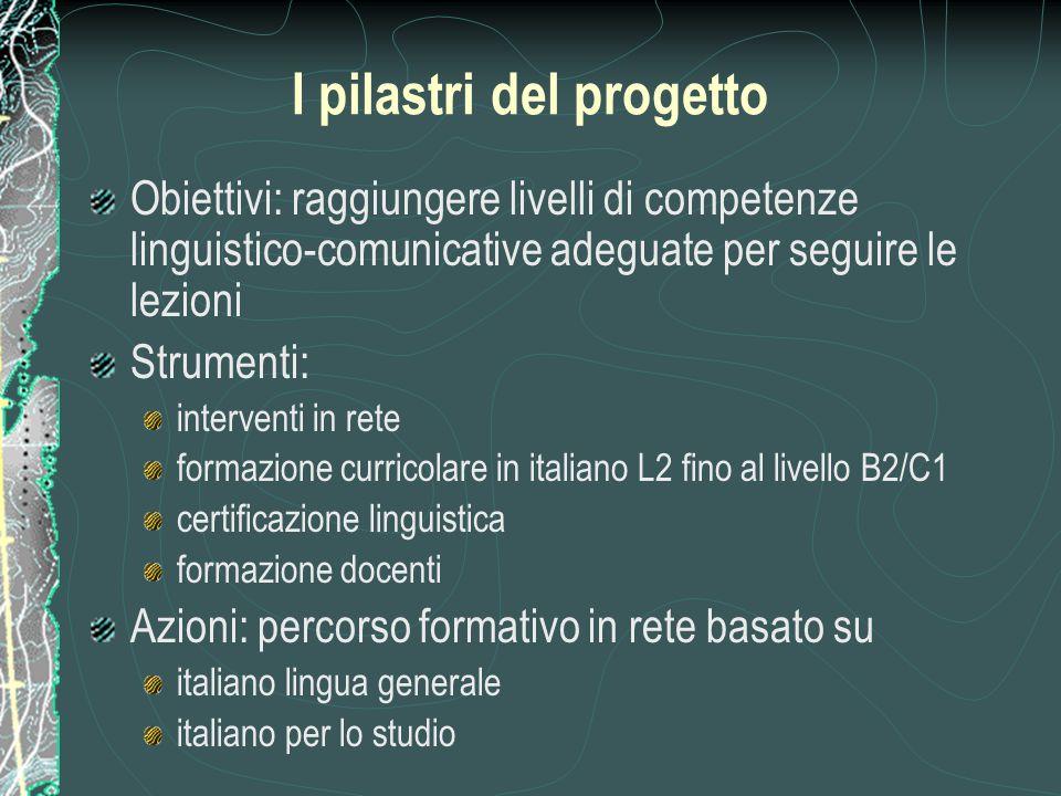 I pilastri del progetto Obiettivi: raggiungere livelli di competenze linguistico-comunicative adeguate per seguire le lezioni Strumenti: interventi in