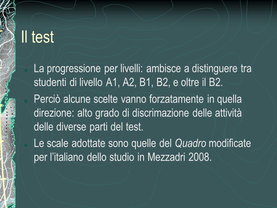 Il test La progressione per livelli: ambisce a distinguere tra studenti di livello A1, A2, B1, B2, e oltre il B2. Perciò alcune scelte vanno forzatame