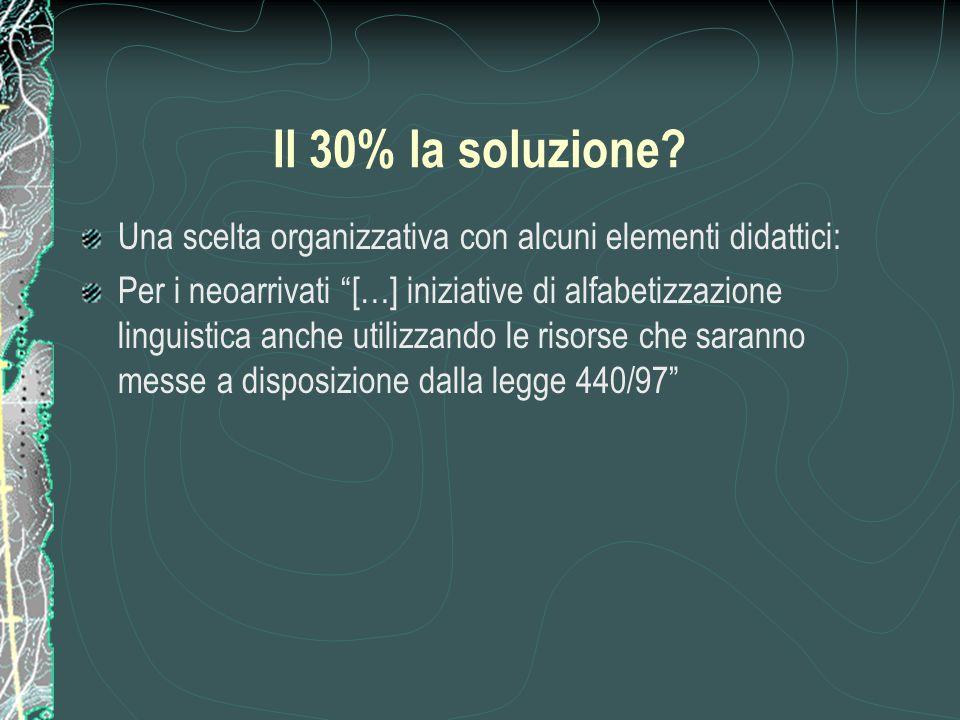 """Il 30% la soluzione? Una scelta organizzativa con alcuni elementi didattici: Per i neoarrivati """"[…] iniziative di alfabetizzazione linguistica anche u"""