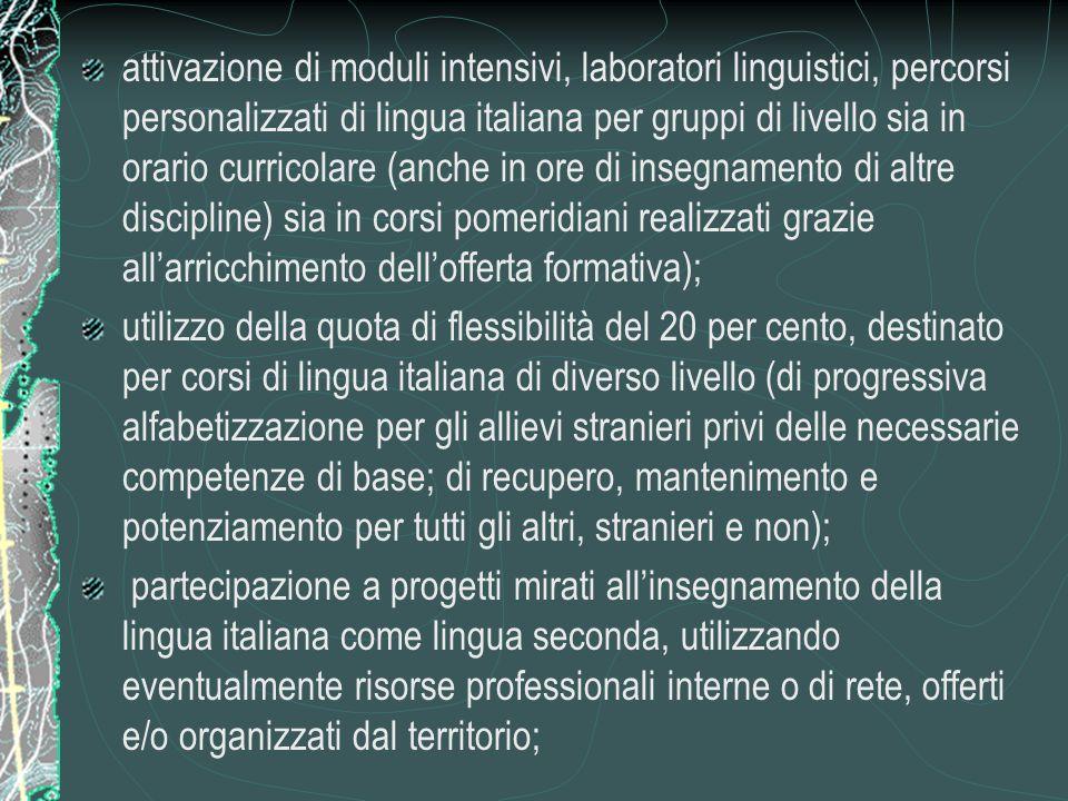 attivazione di moduli intensivi, laboratori linguistici, percorsi personalizzati di lingua italiana per gruppi di livello sia in orario curricolare (a