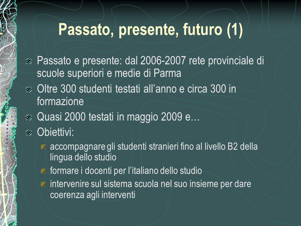 Passato, presente, futuro (1) Passato e presente: dal 2006-2007 rete provinciale di scuole superiori e medie di Parma Oltre 300 studenti testati all'a