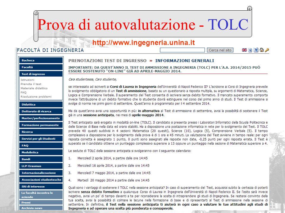 Prova di autovalutazione - TOLC http://www.ingegneria.unina.it
