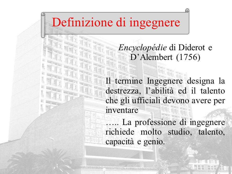 Definizione di ingegnere Encyclopédie di Diderot e D'Alembert (1756) Il termine Ingegnere designa la destrezza, l'abilità ed il talento che gli uffici