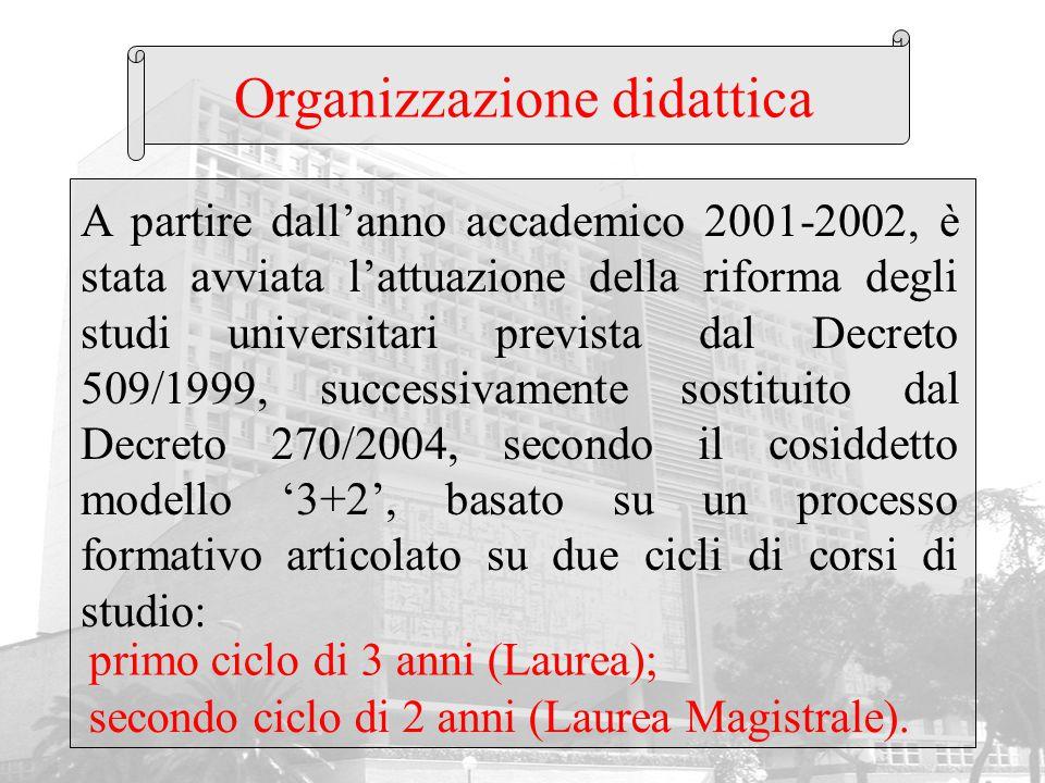 Organizzazione didattica A partire dall'anno accademico 2001-2002, è stata avviata l'attuazione della riforma degli studi universitari prevista dal De