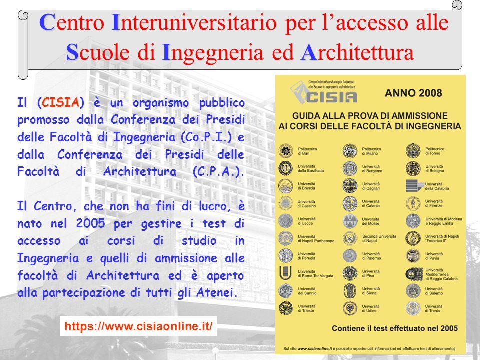 CI SIA Centro Interuniversitario per l'accesso alle Scuole di Ingegneria ed Architettura CISIA Il (CISIA) è un organismo pubblico promosso dalla Confe