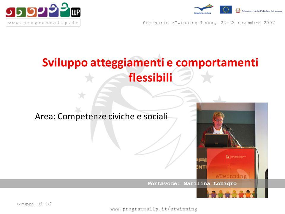 Gruppi B1-B2 Seminario eTwinning Lecce, 22-23 novembre 2007 Area: Competenze civiche e sociali Sviluppo atteggiamenti e comportamenti flessibili Portavoce: Marilina Lonigro