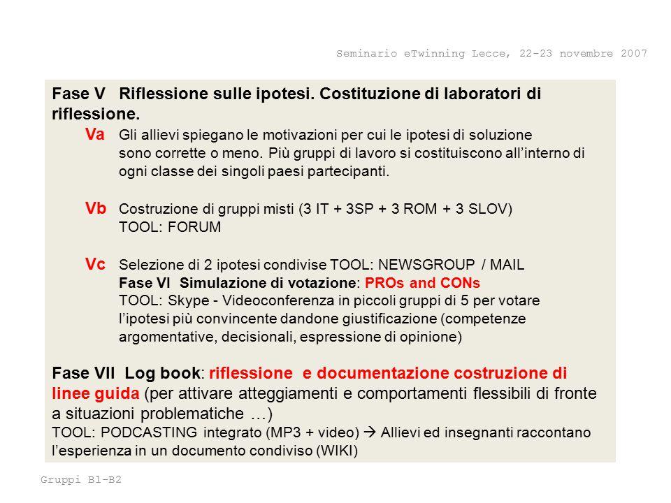 Gruppi B1-B2 Seminario eTwinning Lecce, 22-23 novembre 2007 Fase V Riflessione sulle ipotesi.