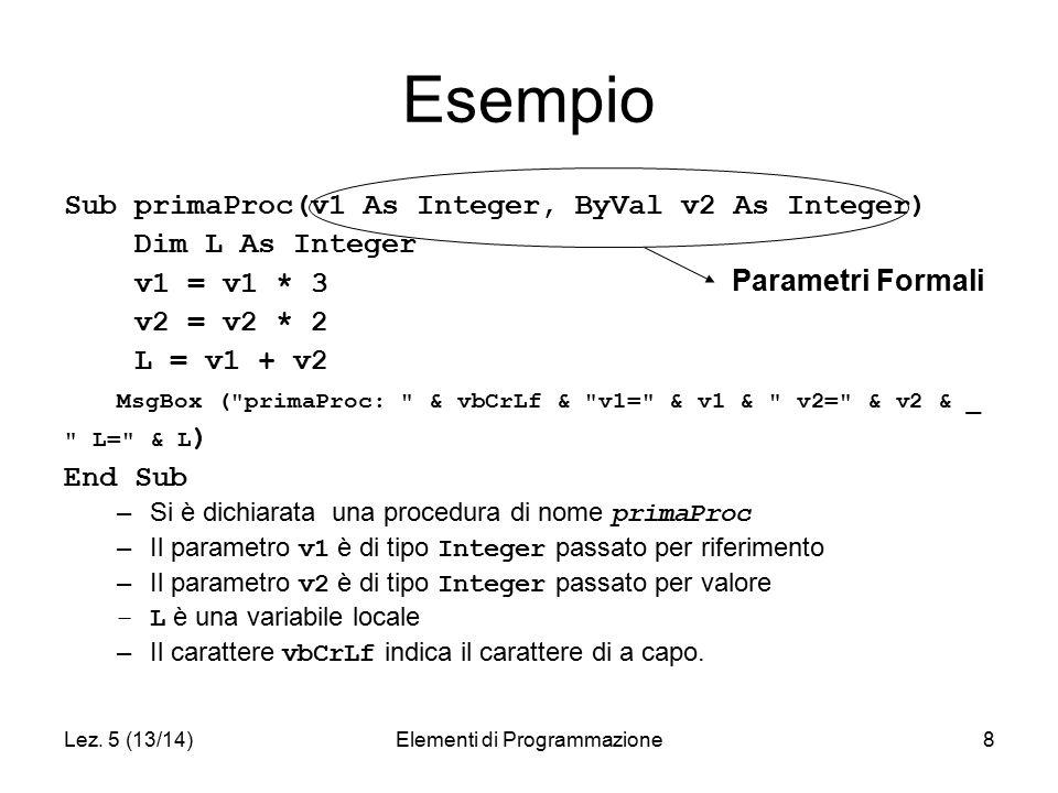 Lez. 5 (13/14)Elementi di Programmazione8 Esempio Sub primaProc(v1 As Integer, ByVal v2 As Integer) Dim L As Integer v1 = v1 * 3 v2 = v2 * 2 L = v1 +
