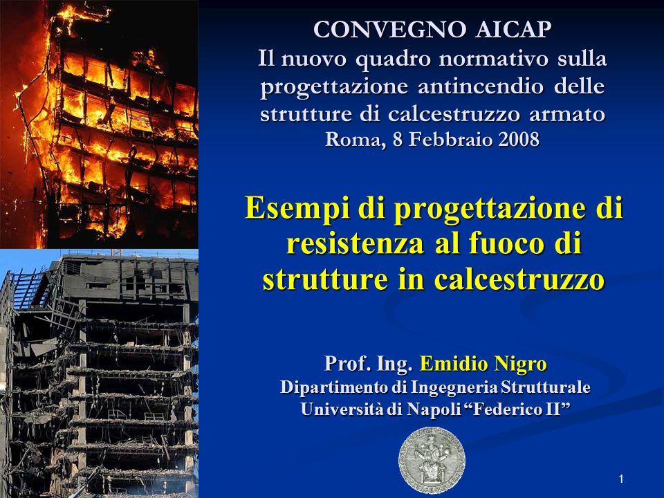 1 Esempi di progettazione di resistenza al fuoco di strutture in calcestruzzo Prof. Ing. Emidio Nigro Dipartimento di Ingegneria Strutturale Universit