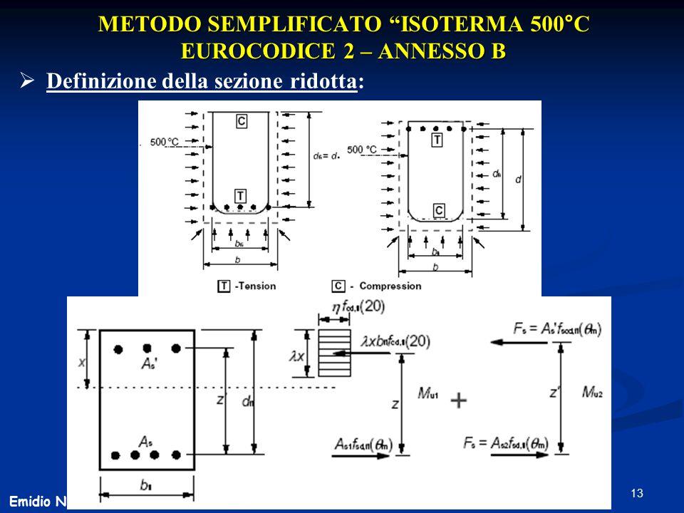"""13 METODO SEMPLIFICATO """"ISOTERMA 500°C EUROCODICE 2 – ANNESSO B  Definizione della sezione ridotta: Emidio Nigro"""