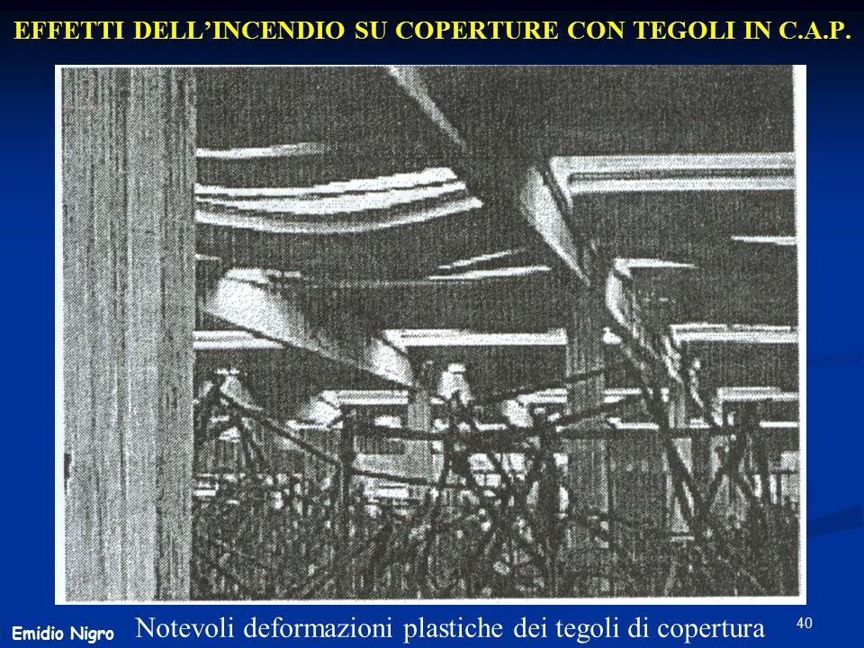 40 EFFETTI DELL'INCENDIO SU COPERTURE CON TEGOLI IN C.A.P. Notevoli deformazioni plastiche dei tegoli di copertura Emidio Nigro