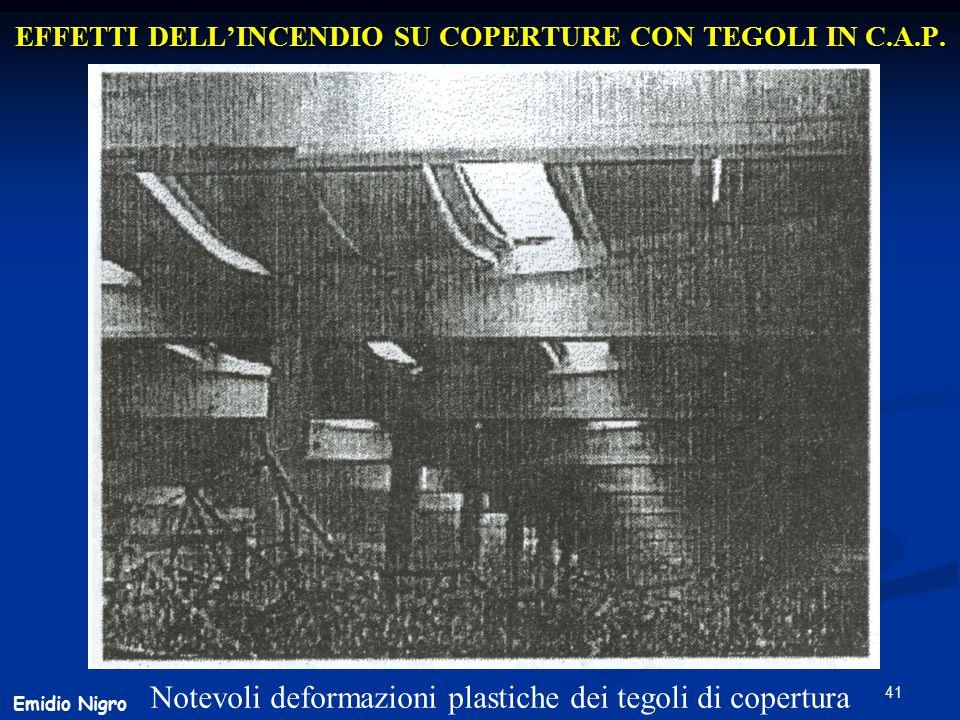 41 EFFETTI DELL'INCENDIO SU COPERTURE CON TEGOLI IN C.A.P. Notevoli deformazioni plastiche dei tegoli di copertura Emidio Nigro