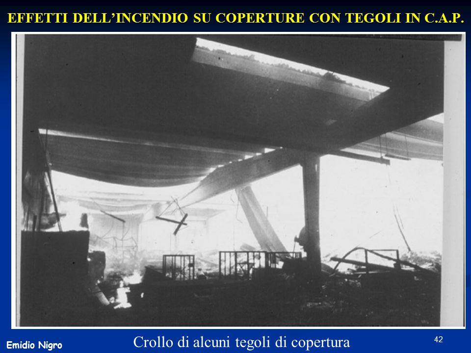 42 EFFETTI DELL'INCENDIO SU COPERTURE CON TEGOLI IN C.A.P. Crollo di alcuni tegoli di copertura Emidio Nigro