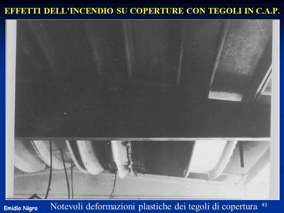 43 EFFETTI DELL'INCENDIO SU COPERTURE CON TEGOLI IN C.A.P. Notevoli deformazioni plastiche dei tegoli di copertura Emidio Nigro
