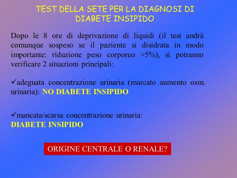 TEST DELLA SETE PER LA DIAGNOSI DI DIABETE INSIPIDO Dopo le 8 ore di deprivazione di liquidi (il test andrà comunque sospeso se il paziente si disidra