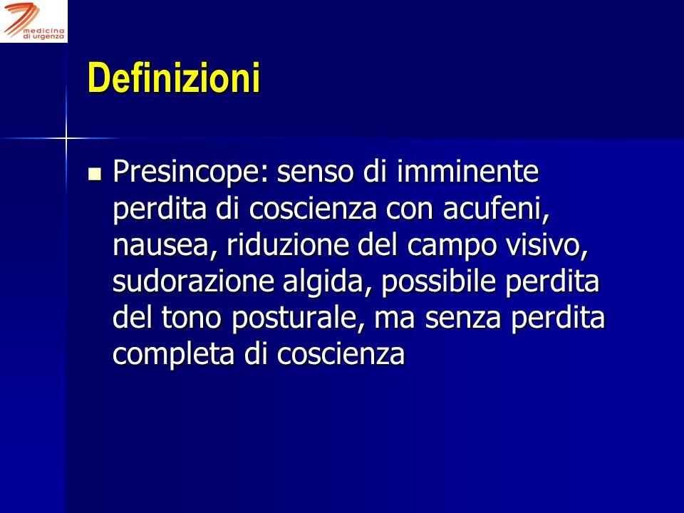 Definizioni Presincope: senso di imminente perdita di coscienza con acufeni, nausea, riduzione del campo visivo, sudorazione algida, possibile perdita
