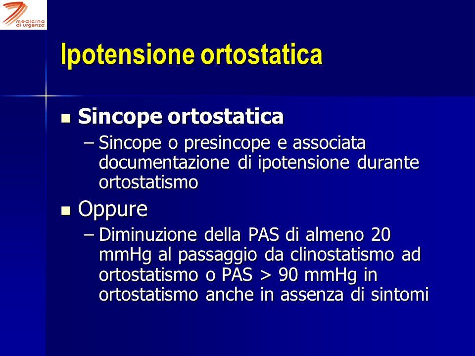 Ipotensione ortostatica Sincope ortostatica Sincope ortostatica –Sincope o presincope e associata documentazione di ipotensione durante ortostatismo O