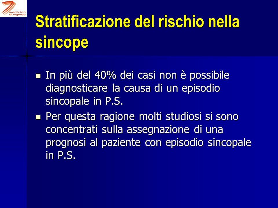 Stratificazione del rischio nella sincope In più del 40% dei casi non è possibile diagnosticare la causa di un episodio sincopale in P.S. In più del 4