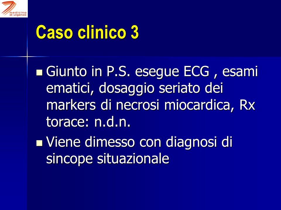 Caso clinico 3 Giunto in P.S. esegue ECG, esami ematici, dosaggio seriato dei markers di necrosi miocardica, Rx torace: n.d.n. Giunto in P.S. esegue E
