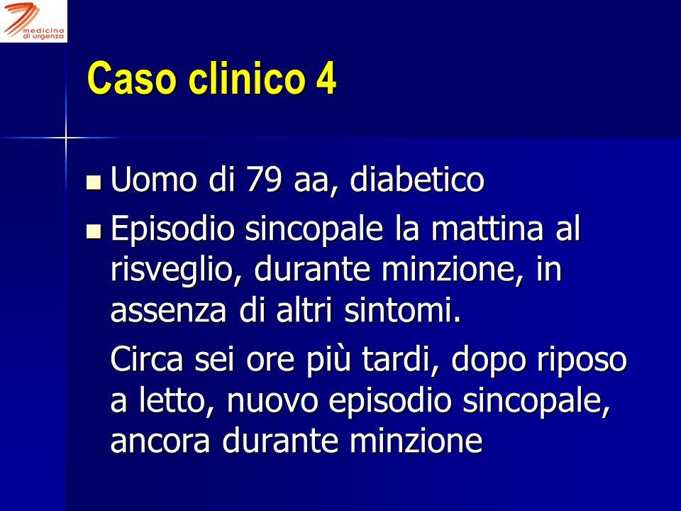 Caso clinico 4 Uomo di 79 aa, diabetico Uomo di 79 aa, diabetico Episodio sincopale la mattina al risveglio, durante minzione, in assenza di altri sintomi.