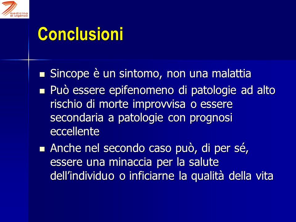 Conclusioni Sincope è un sintomo, non una malattia Sincope è un sintomo, non una malattia Può essere epifenomeno di patologie ad alto rischio di morte