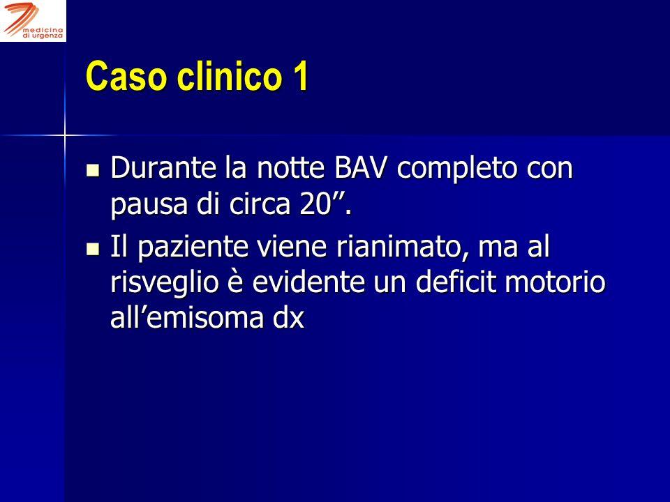 Caso clinico 1 Durante la notte BAV completo con pausa di circa 20''. Durante la notte BAV completo con pausa di circa 20''. Il paziente viene rianima