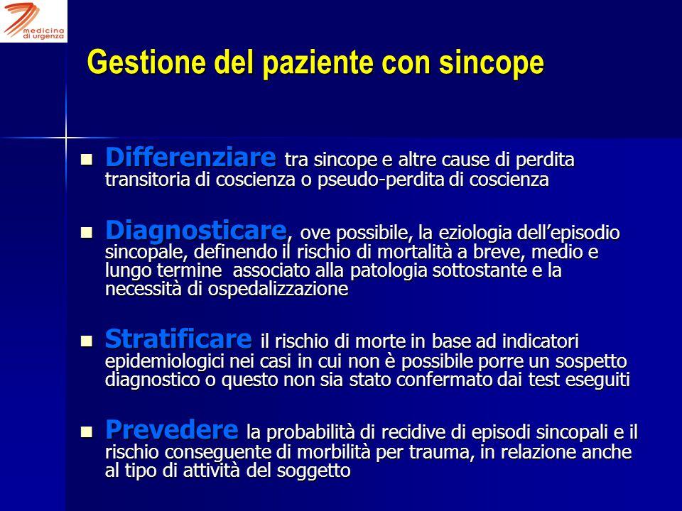 Gestione del paziente con sincope Differenziare tra sincope e altre cause di perdita transitoria di coscienza o pseudo-perdita di coscienza Differenzi